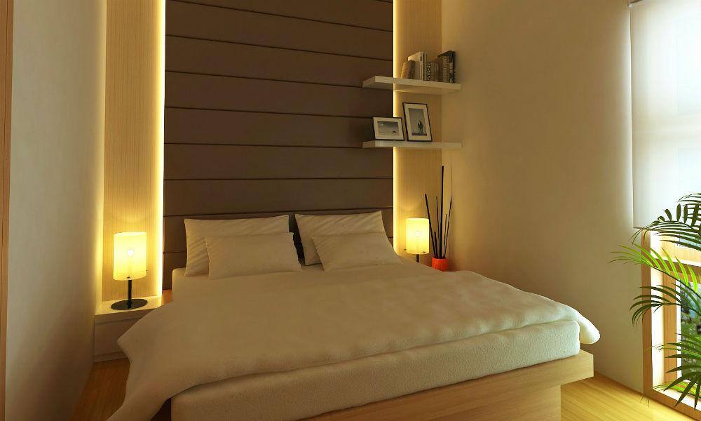 kamar tidur unit apartemen di tanjung duren